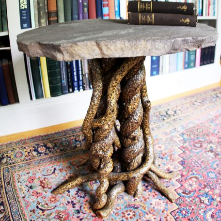 Round table - bittersweet vine base with stone table top by Nancy Reilly of Entangled Furnishings