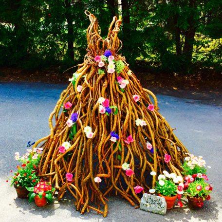 ball gown sculpture of medium bitterseet vine and steel by Nancy Reilly