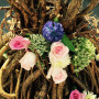 Live flower belt closeup ball gown bittersweet vine sculpture